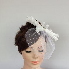 Weddings Headdress Silver Dot Tulle Blusher Big by MammaMiaBridal