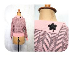 PINK KNITTED 50s JUMPER Susan Peters Beaded Black flower geometric pattern pin up sweater girl Musk big collar by LibertyCrush on Etsy