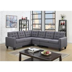Pavo Gray Tufted Linen Sectional