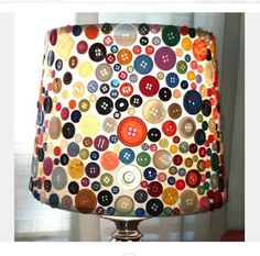 I love this! I can get rid of my spare buttons and my boring white lampshade. Excellent. Room Lamp, Child's Room, Dorm Room, Spare Room, Button Button, Button Type, Button Moon, Diy Crafts Using Buttons, Diy With Buttons
