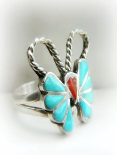Sterling Silver Butterfly Ring - Turquoise / Vintage
