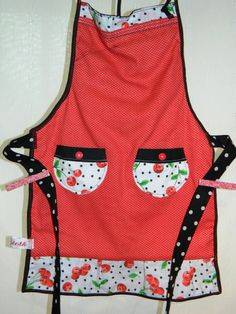 Apron  Girl's Reversible  Cherries by TeriClothCreations on Etsy, $35.00