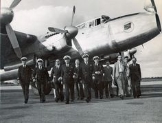 """In November 1948 a Qantas crew did a survey flight from Australia to South Africa across the Indian Ocean in AVRO Lancestrian in preparation for scheduled services. This photo is taken of the crew in Johannesburg, South Africa. Regular South African services using Lockheed Constellations began on 1 September 1952. The Route was Sydney-Melbourne-Perth, Cocos Island, Mauritius and Johannesburg. The route was called the """"Wallaby"""" service"""