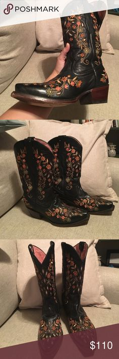 Black Vaccari Boots with Flower Embroidery 100% leather black Vaccari Boots with flower embroidery. Only worn a few times, soles are in excellent condition. No Scuffs Vaccari Shoes Heeled Boots