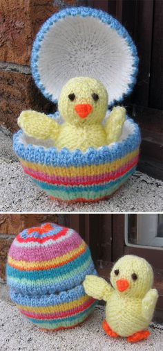 Free Knitting Pattern for Chick and Egg by Alan Dart - This tiny chick toy comes with her own Easter egg shell with picot edges. The chick is 7.5cm/3in tall, and the egg is 12.5cm/5in tall, 7.5cm/3in wid. Designed by Alan Dart. Pictured project by pennyismycat