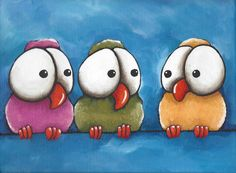 Original acrylic painting canvas whimsical yellow pink green three little bird #IllustrationArt $35.00