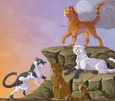 Tallstar (former Windclan leader before Onestar), Firestar (Thunderclan leader), Blackstar (Shadowclan leader) and Crookedstar (former Riverclan leader before Leopardstar) Warrior Cat Memes, Warrior Cats Fan Art, Warrior Cats Series, Warrior Cats Books, Warrior Cat Drawings, Warriors Erin Hunter, Love Warriors, Fanart, Cat Boarding