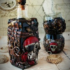 A perfect gift for adventurers. Fill your life with amazing discoveries. Share with your friends the joy of victory. All the elements are fashioned from polymer clay. Bottles of 0.7. Glasses 200ml.