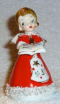 Vintage Christmas Red Angel Choir Singer Bell Brown Hair