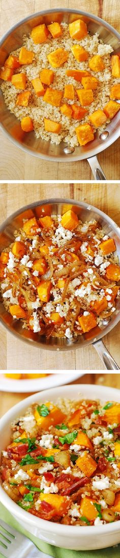 Healthy Quinoa Salad with Bacon, Roasted Butternut Squash, Caramelized Onions, Feta cheese, with French Vinaigrette salad dressing. Healthy, full of anti-oxidants, protein, and it's gluten free!