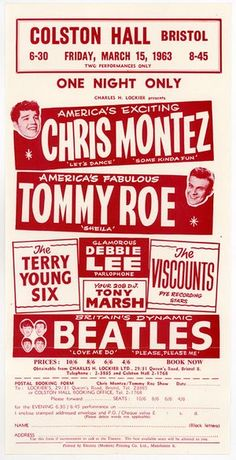 A flyer for a Beatles concert at Colston Hall in Bristol in March 1963.