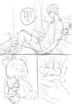Sleeping Rin ...  From nonta2323 ...  Free! - Iwatobi Swim Club, haruka nanase, haru nanase, haru, free!, iwatobi, nanase, neko, cat, makoto, tachibana, makoto tachibana, rin matsuoka, rin, matsuoka
