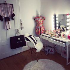 Mirror- Kolja by Ikea Wall Lamps- Musik by Ikea Dressing table- Besta Burs by Ikea Arm chair- Eames Plastic by Vitra