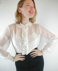 0d0795aa 23 Best sheer white shirt images | Feminine fashion, Ladies fashion ...