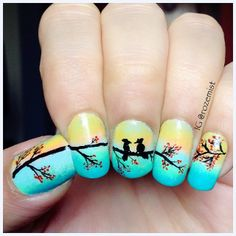 Nail Art birds | Nail arts by Rozemist: Love Birds Gradient Nails