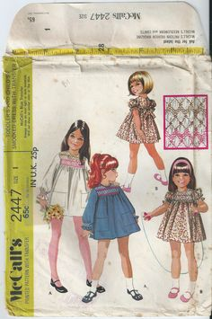 Toddlers' Smocked Dress - Size 1 - McCall's Pattern 2447 - 1970, Uncut Pattern by LouisasNeedle on Etsy