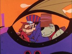 Dick Dastardly and his sidekick, Muttley (whom I laugh like)