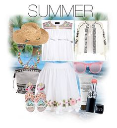 """SUMMER"" by chere18 ❤ liked on Polyvore featuring River Island, Dodo Bar Or, Saloni, Sophia Webster, Accessorize, Le Specs and Christian Dior"