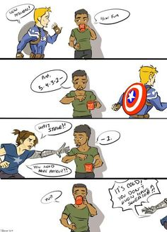 Sam Wilson is starting to find Steve Rogers and Bucky Barnes's relationship a little predictable. Bucky being overprotective even though Steve's freaking CAPTAIN AMERICA! Johnlock, Destiel, Marvel Dc, Marvel Comics, Marvel Heroes, Marvel Jokes, Marvel Funny, Captain America And Bucky, Bucky And Steve