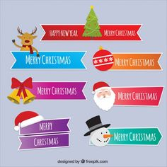 Christmas ribbons set with messages and characters Free Vector