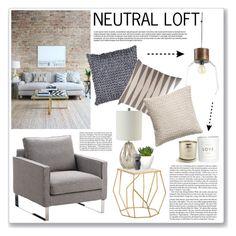 """NEUTRAL LOFT"" by valentina-agnese ❤ liked on Polyvore featuring interior, interiors, interior design, home, home decor, interior decorating, CB2, H&M, Arteriors and Pomax"
