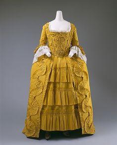 Dress Date: ca. 1760 Culture: British Medium: silk, linen, cotton