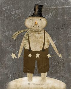 Mr Snowman Primitive digital art 8x10 download by MarysMontage
