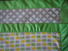 Elephant Flannel Receiving Blanket, Green Satin Binding, White/Gray backing, Elephant stitched in center, Great Gift! by 43Roses on Etsy