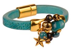 Turquoise Tango Leather Bracelet - to see all project components please go to AntelopeBeads.com