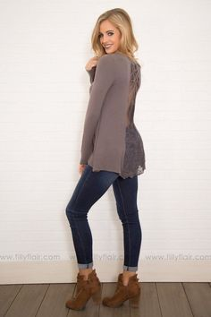 d7ab1ec3eb6a6c The Metro Long Sleeve Lace Detail Back Top in Dark Grey Tops Online  Shopping, Filly