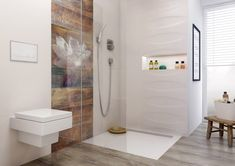 Manteia - płytki łazienkowe z pastelowym motywem lilli wodnej