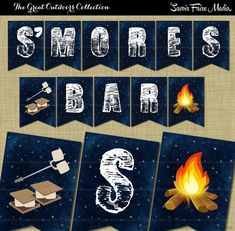 #Bonfire #S'mores Party Pennant Banner Printable // Backyard Outside Firepit // Campfire Printable // Camping Party // S'mores Bar Banner by SavoirFaireMedia