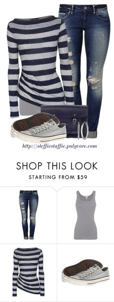 """""""Navy & Gray"""" by steffiestaffie ❤ liked on Polyvore featuring Mavi, Splendid, James Perse, The Cambridge Satchel Company, Converse and FOSSIL"""
