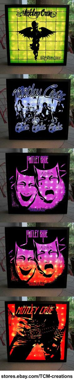 Motley Crue Shadow Boxes with LED ighting. Mick Mars, Nikki Sixx, Tommy Lee, Vince Neill, Too Fast For Love, Shout At The Devil, Girls Girls Girls, Theater Of Pain, Dr. Feelgood.