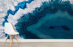Our Agate Mineral Texture Wallpaper Mural showcases the blue agate mineral in a mesmerizing pattern formed by the delicate blue, turquoise and white layers. Table Palette, Feature Wallpaper, Crystal Wall, Crystal Shelves, Inspirational Wallpapers, Pattern Wallpaper, Decoration, Bad, Wall Murals