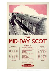 This The Mid-Day Scot - British Railways Timetable Art Print Art Print is created using state of the art, industry leading Digital printers. The result - a stunning reproduction at an affordable price. The Mid-Day Scot - British Railways Timetable