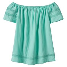 Girls 7-16 SO® Openwork Off Shoulder Woven Babydoll Top, Size: 7-8, Turquoise/Blue (Turq/Aqua)
