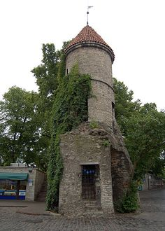 Viru Gate, entrance to the Old Town of Talinn, Estonia. One of two remaining towers that were once part of a larger gate system built in the 14th century