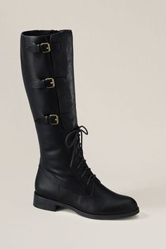 Love the buckles and lace up! WANT. Lands End Canvas Women's Sloan Tall Riding Boot $99.99 (sale)