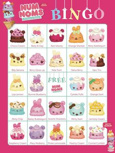NUM NOMS Bingo Cards 14 Unique Cards with Extra LARGE by Bee3Shop