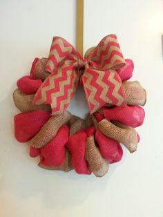 Pink and Tan Burlap Wreath by CrafttasticWreaths on Etsy