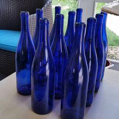 12 Cobalt Blue Bottles 750 ML for Crafting bottles Parties Blue Glass Bottles, Cobalt Glass, Blue Bottle, Bottles And Jars, Glass Jug, Bottle Art, Cobalt Blue Weddings, Water Bottle Crafts, Wedding Bottles