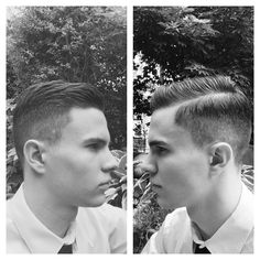 My latest haircut: Two inches on top and grade one on the sides with slick parting.