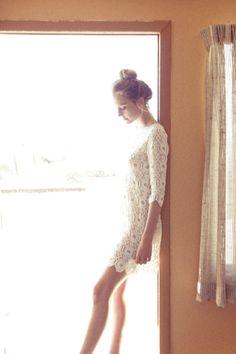 white dress, high bun