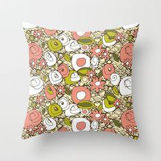 retro dim sum Throw Pillow #dimsum #scrummy #sharonturner #society6 #pillow