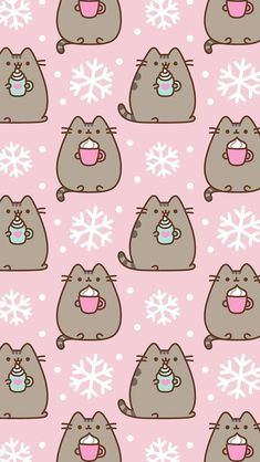 Pusheen the cat iPhone wallpaper background winter snow lattes Cute Christmas Wallpaper, Xmas Wallpaper, Winter Wallpaper, Kawaii Wallpaper, Pattern Wallpaper, Christmas Phone Backgrounds, December Wallpaper, Cute Wallpaper Backgrounds, Wallpaper Iphone Cute