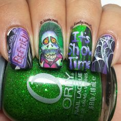 Beetlejuice Nails by Lucero R. of IG@_lovely_nails_ with Orly Here Comes Trouble |  Nail It! Magazine