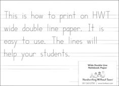 Handwriting Without Tears, Wide, Double-Lined Paper, 100 Sheets Handwriting Without Tears<br> Fractions Worksheets Grade 5, Abc Worksheets, Sloppy Handwriting, Nice Handwriting, Prewriting Skills, Addition Words, Handwriting Without Tears, Writing Lines, Hand Writing