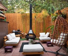 One couple turned their California backyard into an enviable oasis. Complete with an outdoor theater, more than 100 plants, and the ultimate patio-lounge area, this yard is perfect for entertaining family and friends on all occasions. Small Patio Furniture, Modern Outdoor Furniture, Outdoor Rooms, Outdoor Living, Outdoor Decor, Sectional Furniture, Furniture Ideas, Homemade Furniture, Outdoor Kitchens