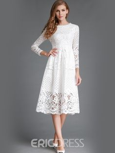 Ericdress Soild Color Three-Quarter Knee-Length Lace Dress  $20.03